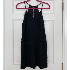 Black Eyelash Lace keyhole back Mini Dress sz 6